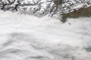 Immagini satellitare della Pianura Padana il 4 marzo 2018