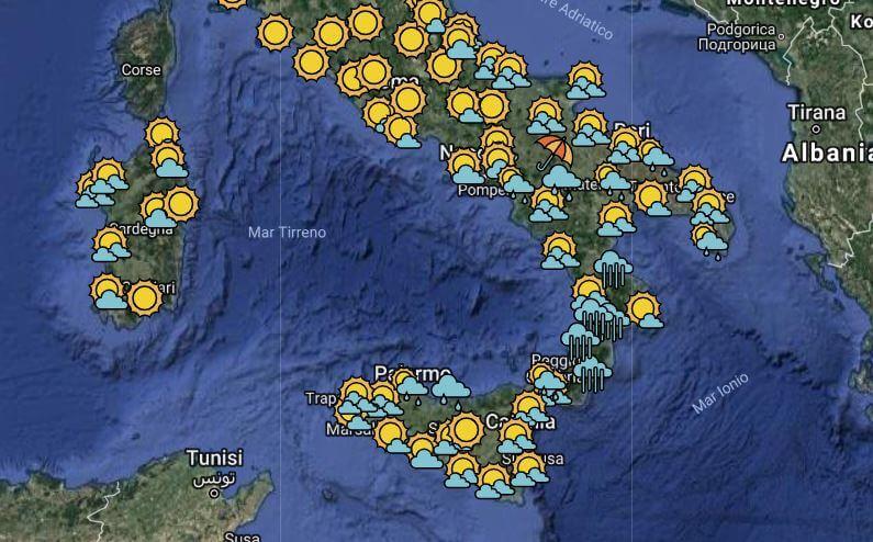 previsioni meteo weekend maltempo centro sud italia