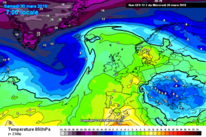 Retrogressione fredda di fine mese a 850 hPa
