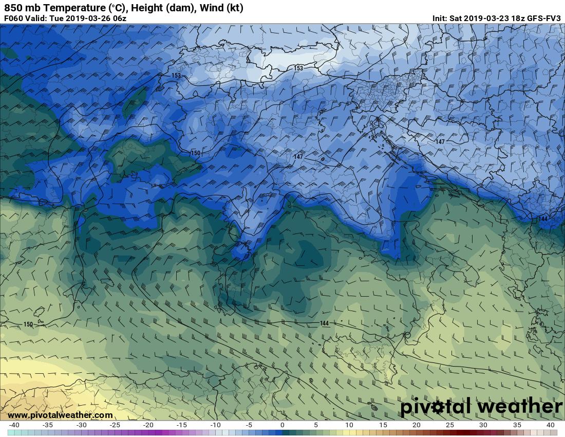 Temperature sotto zero a 850 hPa (1400 mt) in Pianura padana.