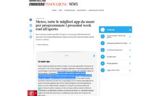 Il corriere della Sera dedica un articolo alle migliori app tra cui Meteo Drome