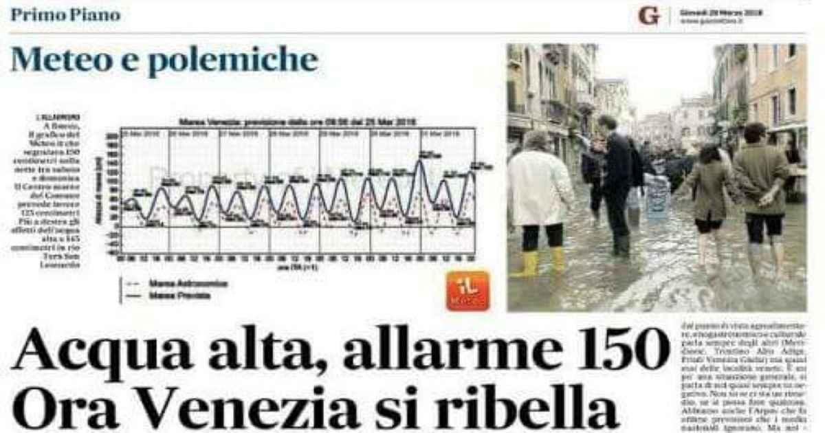 La protesta degli albergatori in seguito all'allarme acqua alta a Venezia del 2018