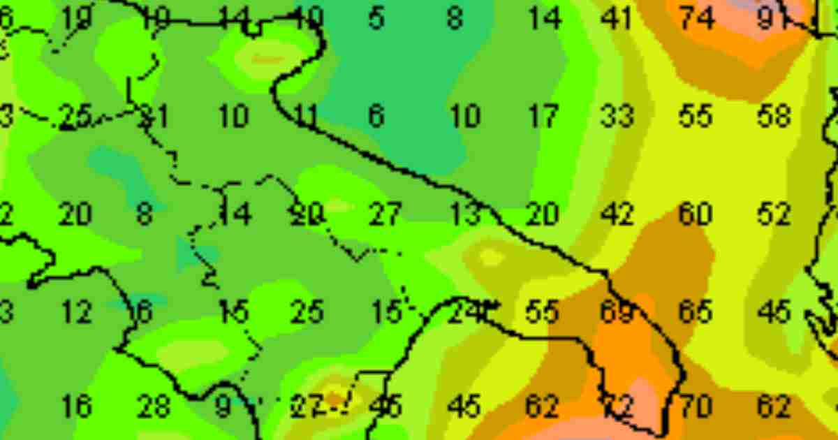 Puglia: pioggia week-end 6-7 Aprile 2019; (Accumuli in millimetri)