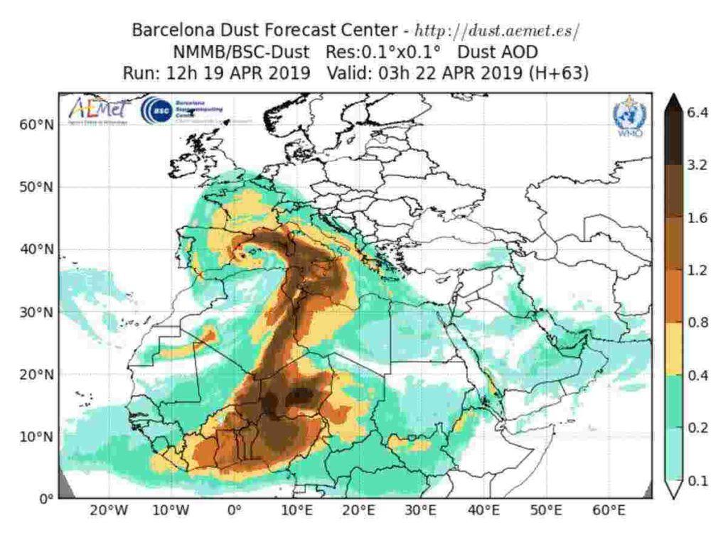 Meteo pasquetta 2019: sabbia sahariana sull'Italia, H 63