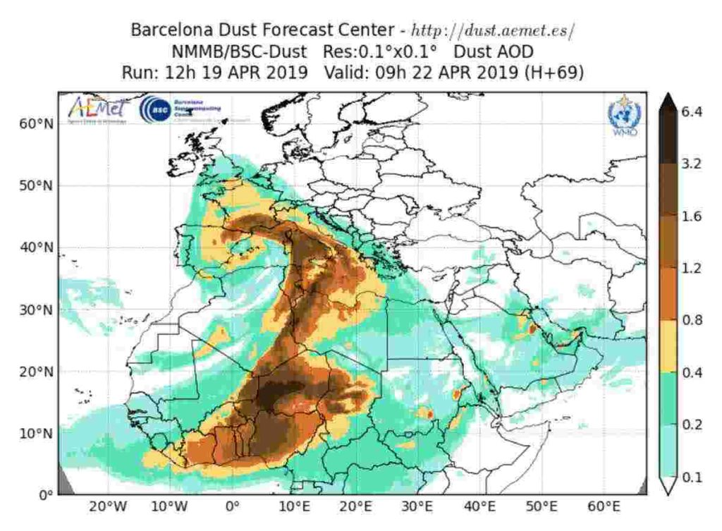 Meteo pasquetta 2019: sabbia sahariana sull'Italia, H 69