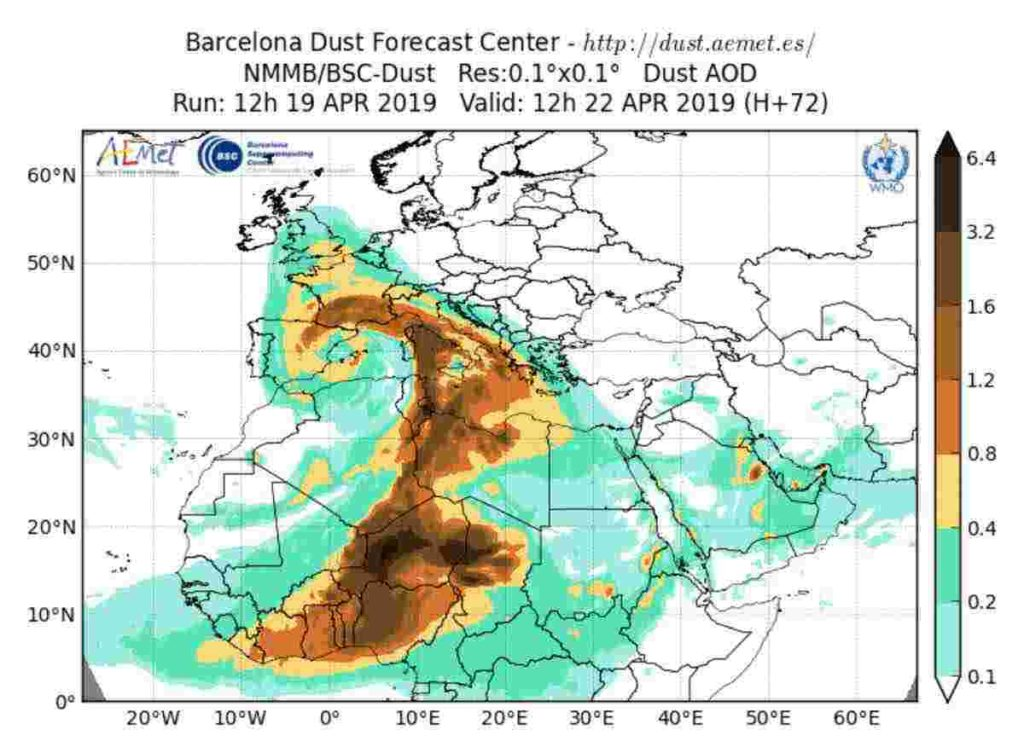 Meteo pasquetta 2019: sabbia sahariana sull'Italia, H 72