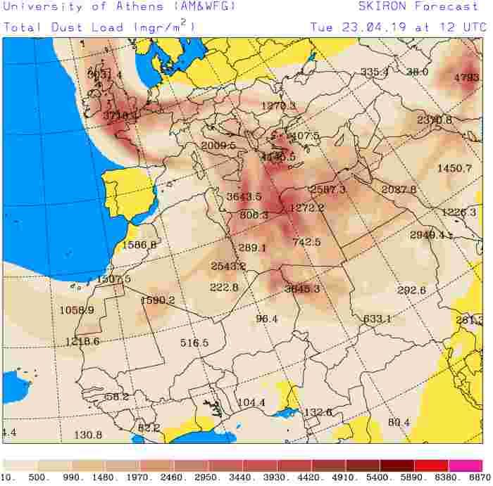 Meteo pasquetta 2019: sabbia sahariana sull'Italia, Total dust load