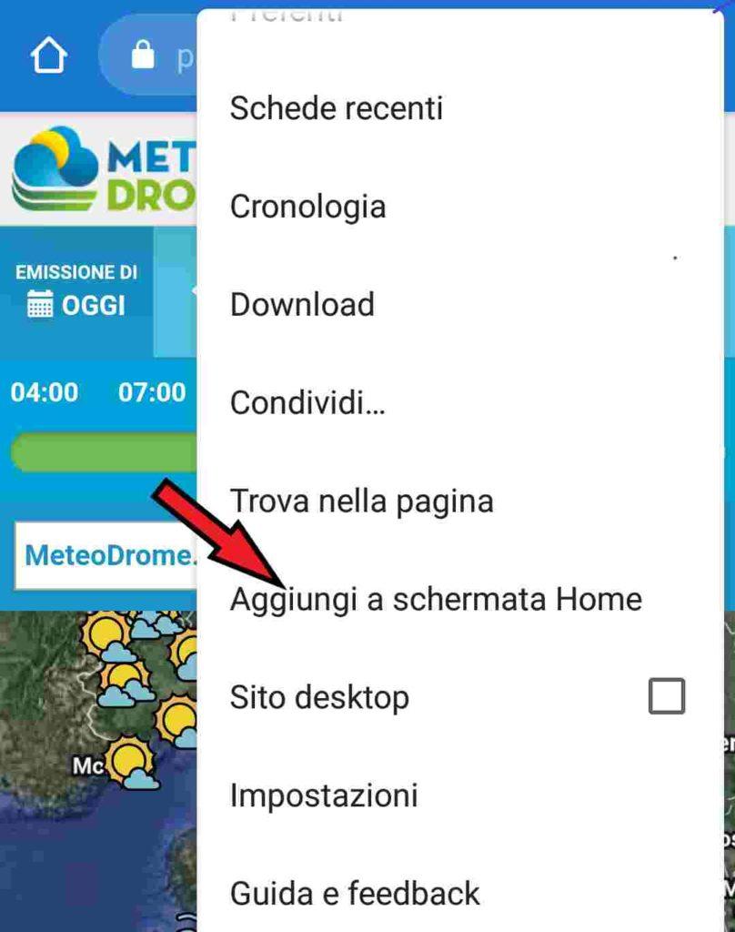 App Meteodrome: difficoltà a scaricarla? Menu di Chrome