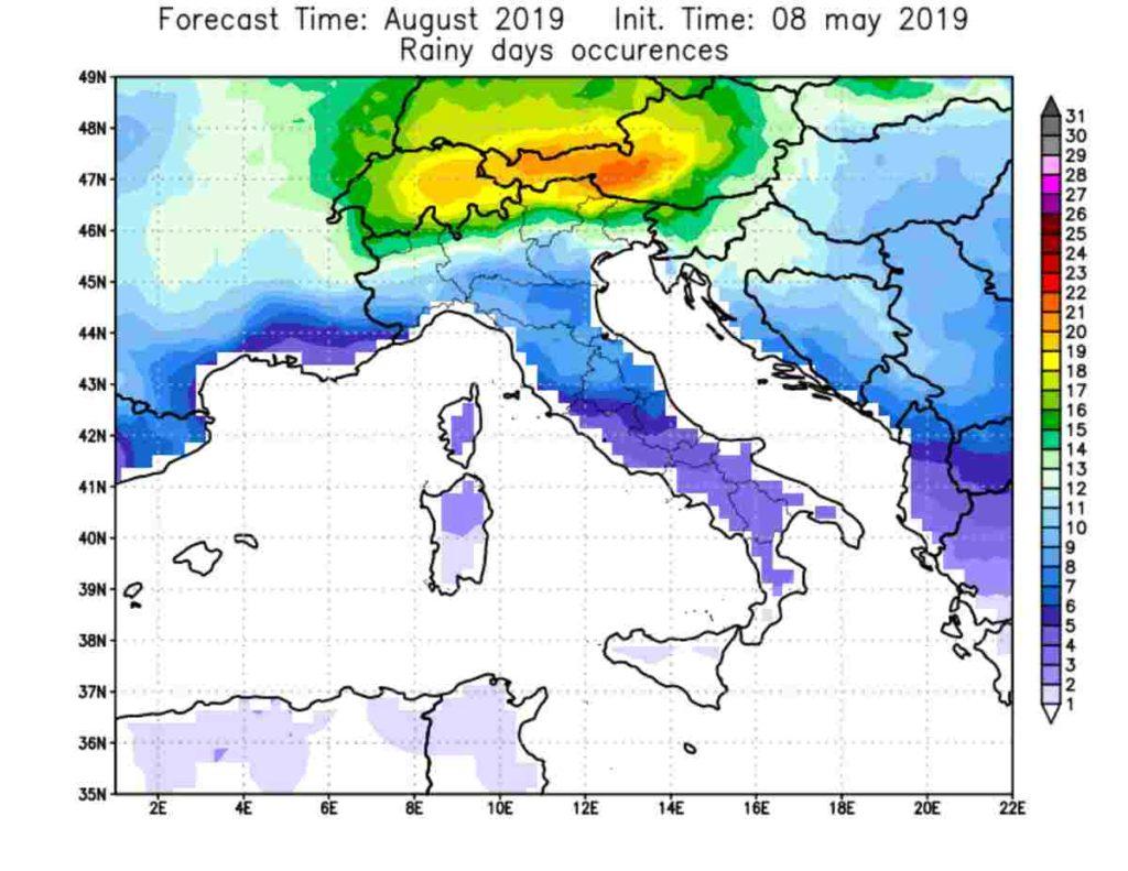 previsioni meteo agosto 2019 pioggia