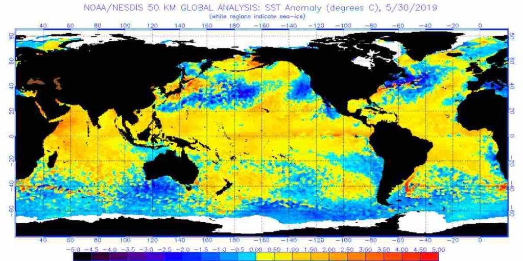 Meteo Giugno 2019: Strano Ribaltone delle Temperature dei Mari