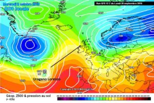 Meteo Ottobre 2019: NAO in picchiata, l'Uragano Lorenzo punta l'Europa