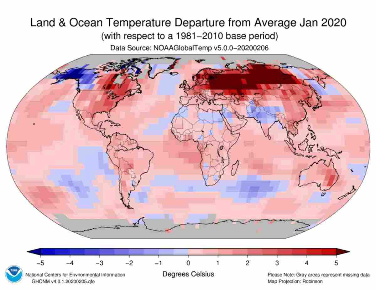 Riscaldamento Globale, GENNAIO 2020: il più CALDO della STORIA