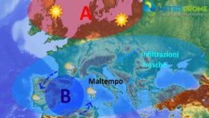 Meteo Aprile 2020: vasta CICLOGENESI determina una FASE PIOVOSA su molte regioni